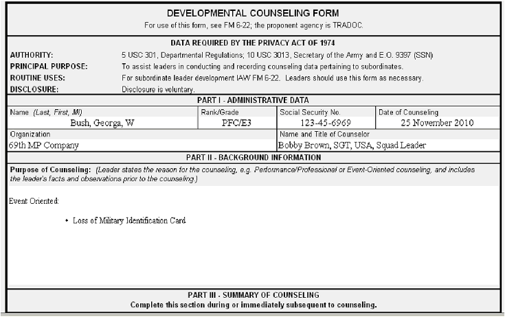 counseling memo template - example da form 4856 of initial counseling for 92g