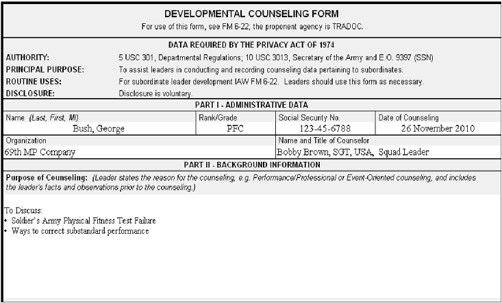 army counseling statement for apft failure download pdf. Black Bedroom Furniture Sets. Home Design Ideas